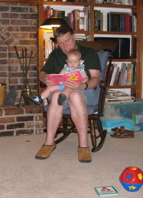 kivrin and grandpa reading a book