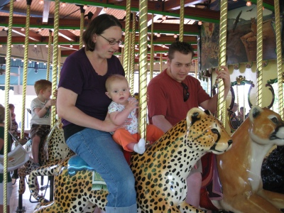 posing on the carousel