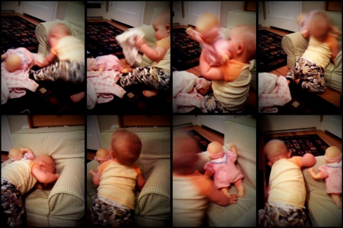wrestling her baby doll