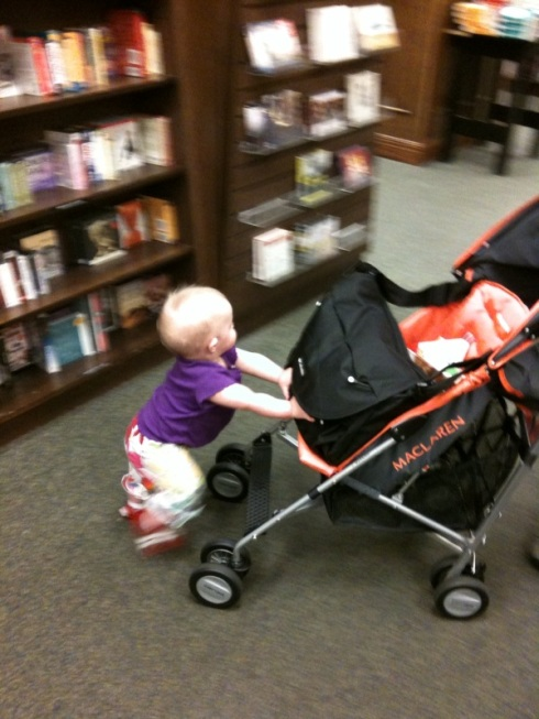 pushing the stroller