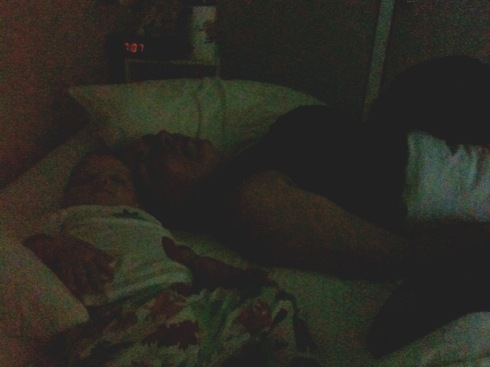 kivrin and mama asleep in the morning