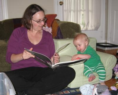 kivrin and mama reading together