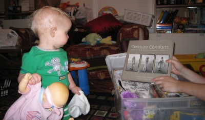 kivrin looking at the creature comforts book