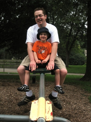colin and dan on the teeter totter