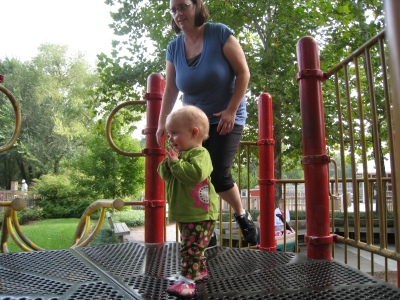 kivrin and mama at the zoo playground