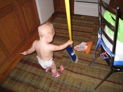 sweeping up the carpet