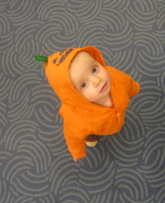 kivrin in her pumpkin hoodie