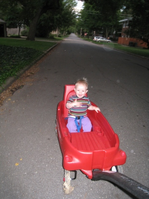 loves going fast in the wagon